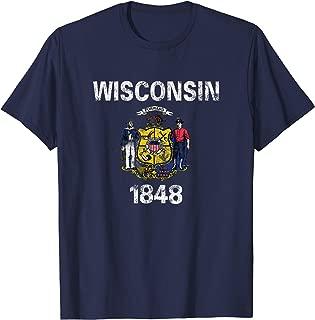 Retro Wisconsin Flag Men Women Kids Vintage WI Souvenir Gift T-Shirt
