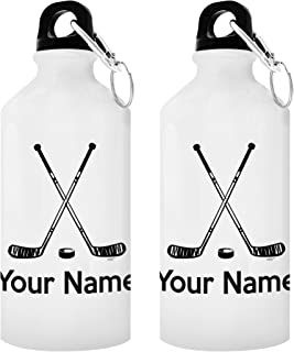 Personalized Hockey Gifts Customized Hockey Water Bottle Personalized Gift 2-Pack 20-oz Aluminum Water Bottles with Carabiner Clip Top White