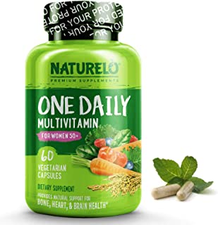 NATURELO One Daily Multivitamin for Women 50+ (Iron Free) - Natural Menopause Support - Best for Women Over 50 - Whole Food Supplement - Non-GMO - No Soy - 60 Capsules | 2 Month Supply