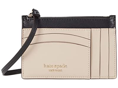 Kate Spade New York Spencer Card Case Wristlet (Warm Beige/Black) Handbags