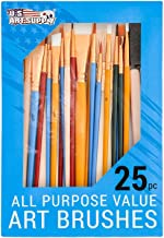 U.S. Art Supply 25 Piece All-Purpose Assorted Artist Paint Brush Set - Use for Acrylic, Oil, Watercolor and Other Paint Mediums