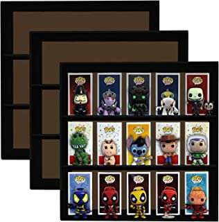 Display Geek 3 Pack, Stackable Toy Shelves for 4 in. Vinyl Collectible Figures, Black Corrugated Cardboard