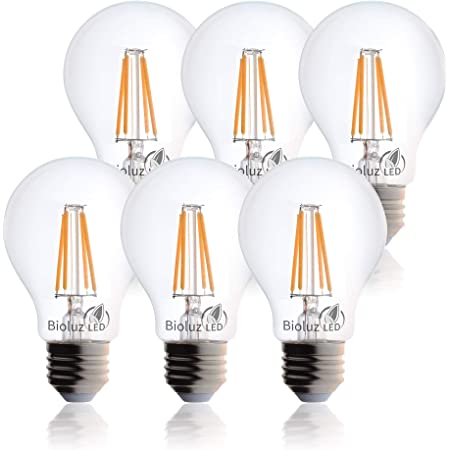 Bioluz LED Vintage 40 Watt Light Bulb, Edison Style Filament LED, Dimmable A19, Uses 5 Watts, Warm White (2700K) Clear Pendent Light Bulb UL Listed (Pack of 6)