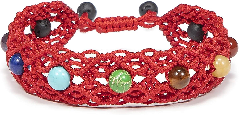 Lavoio Bead Chakra Bracelet 7 Chakras Healing Crystals Bracelet 6mm Yoga Stone Beads Bracelets Meditation Relax Anxiety Bangle for Womens Mens