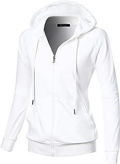 362afc72 GIVON Womens Comfortable Long Sleeve Lightweight Raglan Zip-up Hoodie with  Kanga Pocket