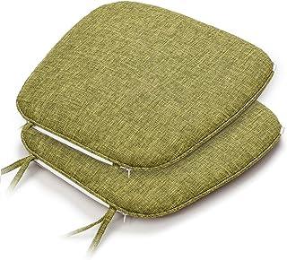 Shinnwa 椅子 座布団 2枚セット 洗える チェアパッド 馬蹄形 ひも付きテーブル 椅子クッション 食卓椅子の座布団 ダイニングチェア用クッション すべり止め 43*41CM グリーン