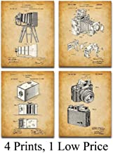 Original Camera Patent Art Prints - Set of Four Photos (8x10) Unframed - Makes a Great Gift Under $20 for Photographers