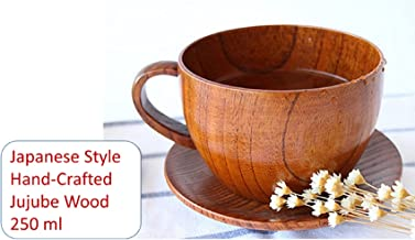 Classical Premium Gift - Natural Handmade Wooden Coffee Mug, Japanese Style for Coffee/Tea Cup or Soup Bowl with Handle and Wood Saucer 250 ml