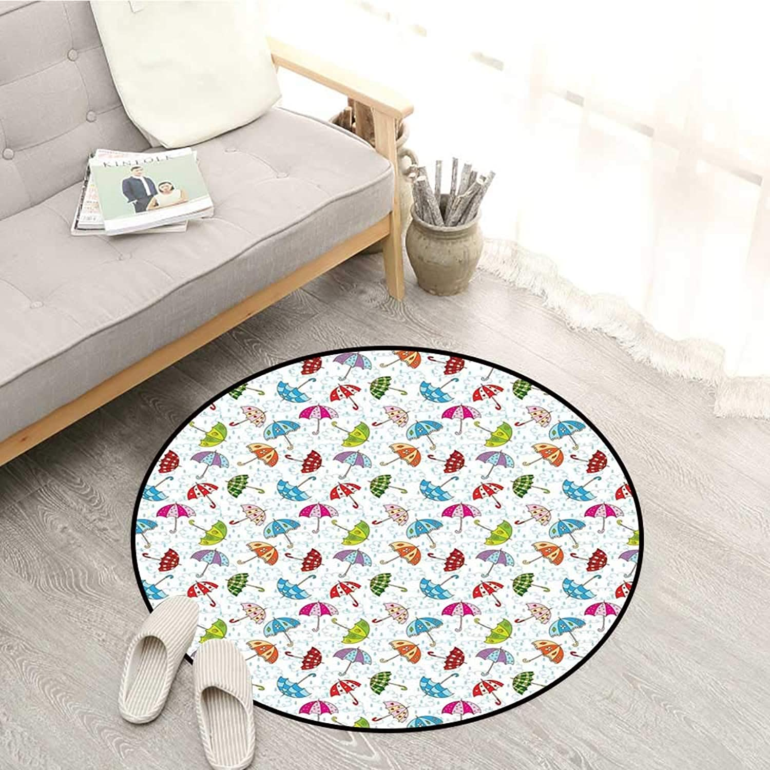 Umbrella Non-Slip Rugs Cartoon Style Different Umbrellas Scattered Around in The Spring Rain Wet Weather Sofa Coffee Table Mat 4'11  Multicolor