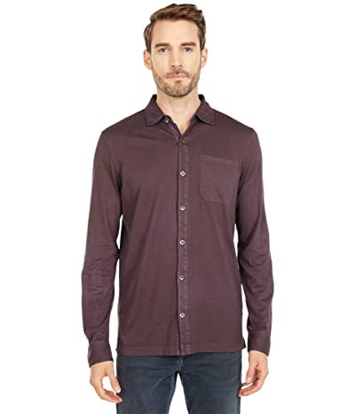 Mod-o-doc Santa Monica Long Sleeve Button Front Shirt (Black Plum) Men