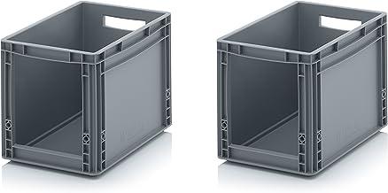 2x Euro Sichtlagerkasten 40 x 30 x 32 cm inkl. gratis Zollstock * Eurobehälter mit Fenster, 2er Set