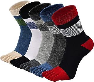 ZFSOCK, Calcetines de algodón para hombre, para correr cinco dedos, calcetines deportivos coloridos con dedos de los pies, 5 pares