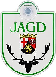 Saugnapfschild Schild Jagd   Rheinland Pfalz Acrylschild 3mm mit Saugnapf 30mm, ca. 90x125 mm für Scheibeninnenbefestigung