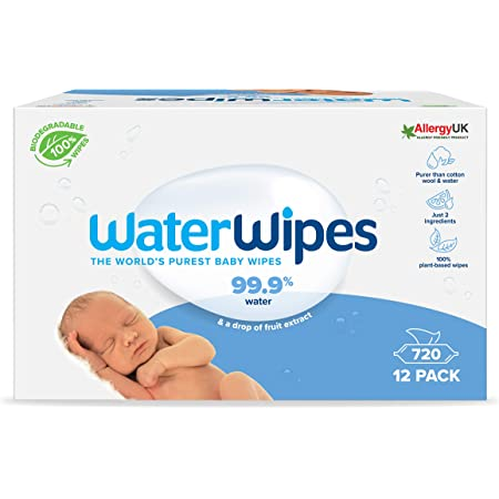 WaterWipes lingettes pour bébé (12 x 60 pièces), lingettes humides pour peau sensible de bébé, pack de lingettes nettoyantes compostables 100 % d'origine végétale - 720 lingettes
