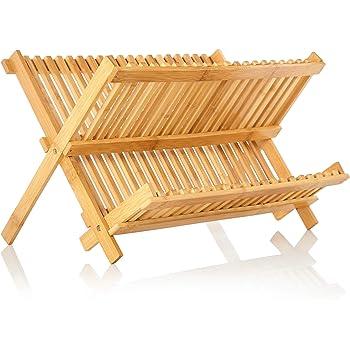 bambuswald© Egouttoire Vaisselle | Organisateur de Cuisine Pliable en Bambou | Rangement Vaisselle - Egouttoire Evier Cuisine | Disponible en 16 ou 20 Grilles