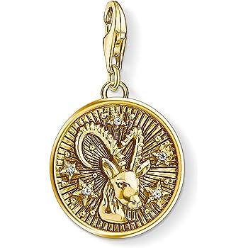 Dorado Plata de Ley 925 ba/ño de oro amarillo de 18 quilates Thomas Sabo Colgante de Mujer Charm Zod/íaco Piscis Charm Club