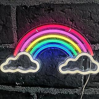 LED Neon Light Signs, Regenboog Wolk Neon Sign Muur Decor Licht voor Slaapkamer, USB-aangedreven Neon Nachtlampjes, Gift v...