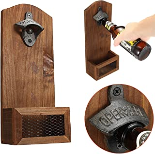 Boloniprod Vintage Wall Mounted Wooden Bottle Opener with Cap Catcher Beer Bottle Opener Wine Bottle Opener Accessory Gift for Wedding,KTV,Birthday,Party Drinking,Friends,Lovers etc (Style 2)