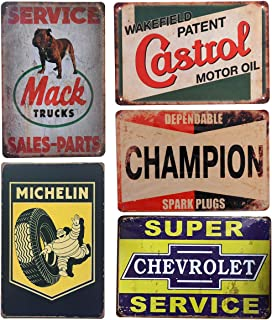 Pack of 5 pcs Retro Vintage Advert Tin Signs, Mack/Michelin/Castrol/Champion/Chevrolet Metal Posters for Garage Man Cave Bar, 8x12 inch/20x30cm