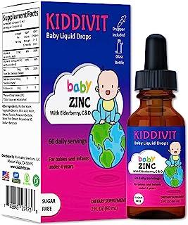 Kiddivit Baby Zinc Liquid Drops with Elderberry, Vitamin D3 & C - 60 Daily Servings, 2 Fl Oz (60 mL) - Inulin Fortified (P...