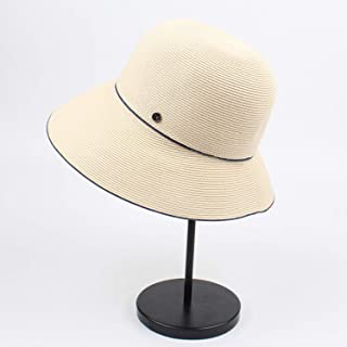 2019 Womens Hats Caps Women's Spring and Summer Paper Grass Literary Straw Hat Japanese Small Fresh and Simple Travel Hat Folding Fisherman Hat (Color : Beige, Size : Adjustable)