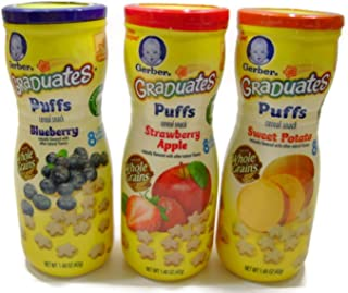 Sponsored Ad - Gerber Graduates Puffs Cereal Snack Variety Pack - Blueberry, Strawberry-Apple, Sweet Potato - 1.48 oz Each