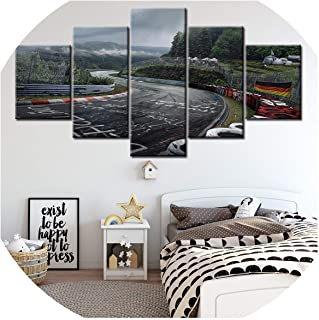 Canvas Printed Pictures Wall Art Painting 5 Panel Nurburgring Rally Road Home Decoration Module Poster for Living Room NL00,30x40 30x60 30x80cm,with Frame
