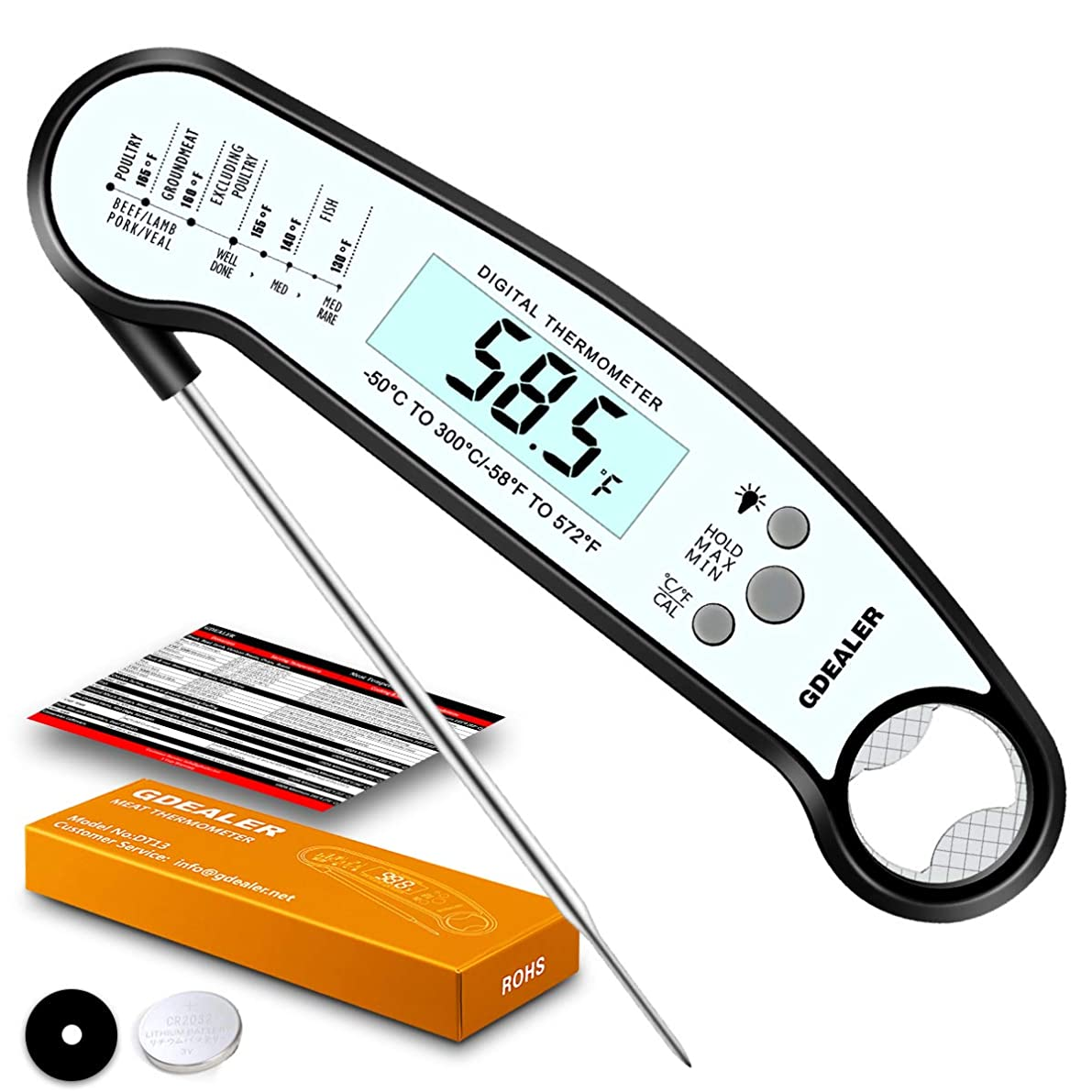 GDEALER DT13 Digital Waterproof Instant Read Meat Thermometer with Backlight Calibration Bottle Opener for Kitchen Cooking Candy Food Grilling BBQ Baking Oil Deep Fly