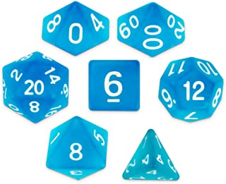 Wiz Dice Sea Glass Set of 7 Polyhedral Dice, Semi-translucent Matte Finish Blue RPG Dice with Clear Display Box