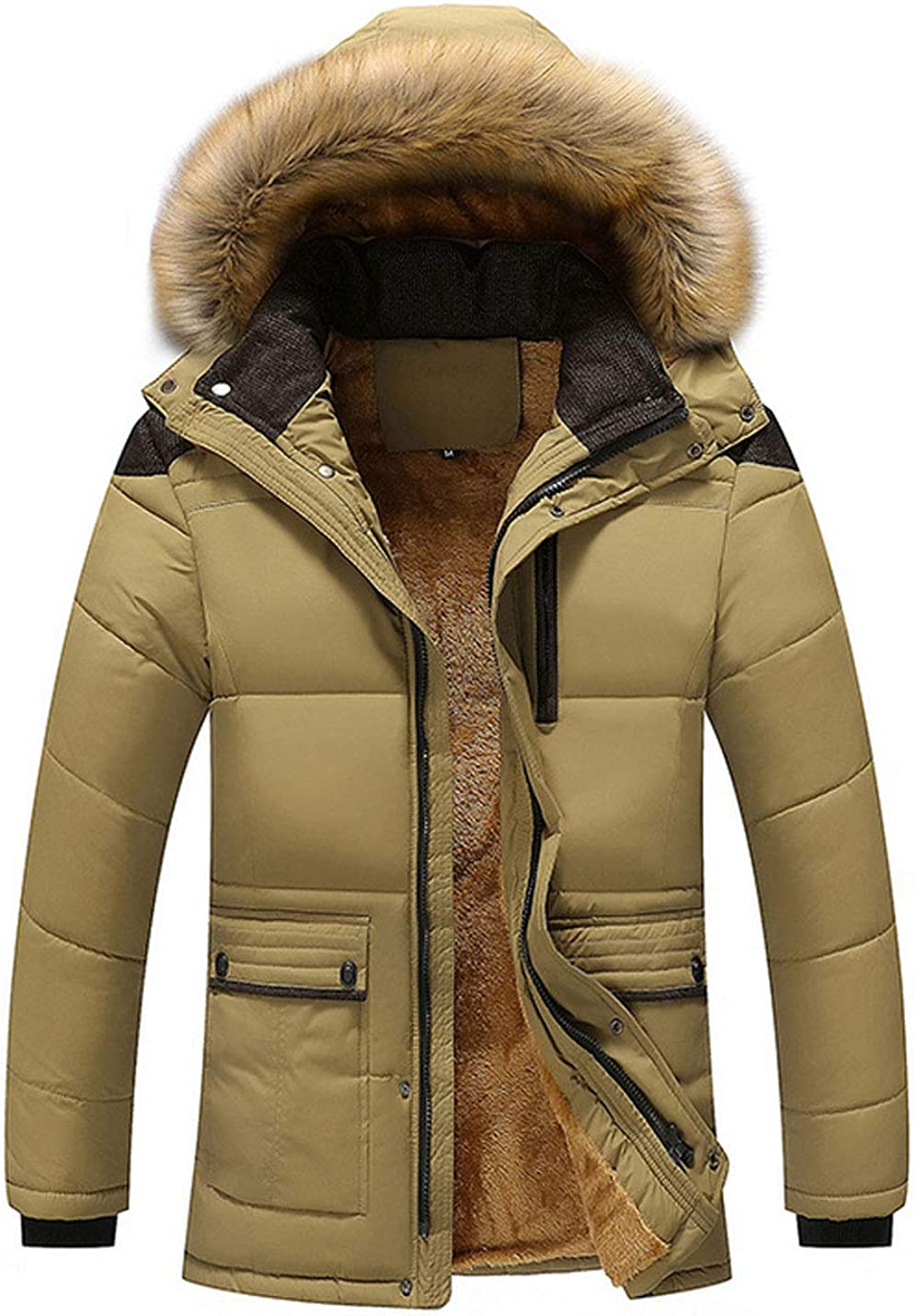 Bankeng Men's Winter Detachable Hooded Frost-Fighter Sherpa Lining Parka Jacket