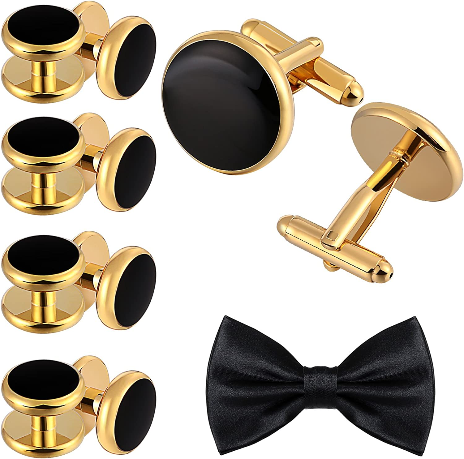 Aienid Cufflinks and Studs Set for Men Stainless Steel Shirt Business Cufflinks Jewelry by