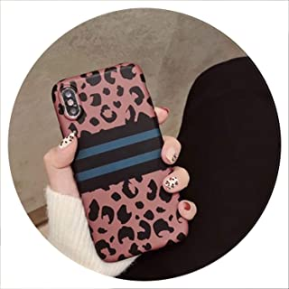 Fashion Leopard Print Phone Case for iPhone 7 8 Plus X XR XS Max Plaid Strip Case for iPhone 6 6S Plus Phone Bag Back Cover Capa,Leopard C,for iPhone X