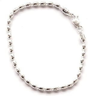 indomode 7-inch St. Silver Famous Charleston 400g Rice Bead Link Bracelet for Women Sturdy Bracelet 4x5 mm Beads