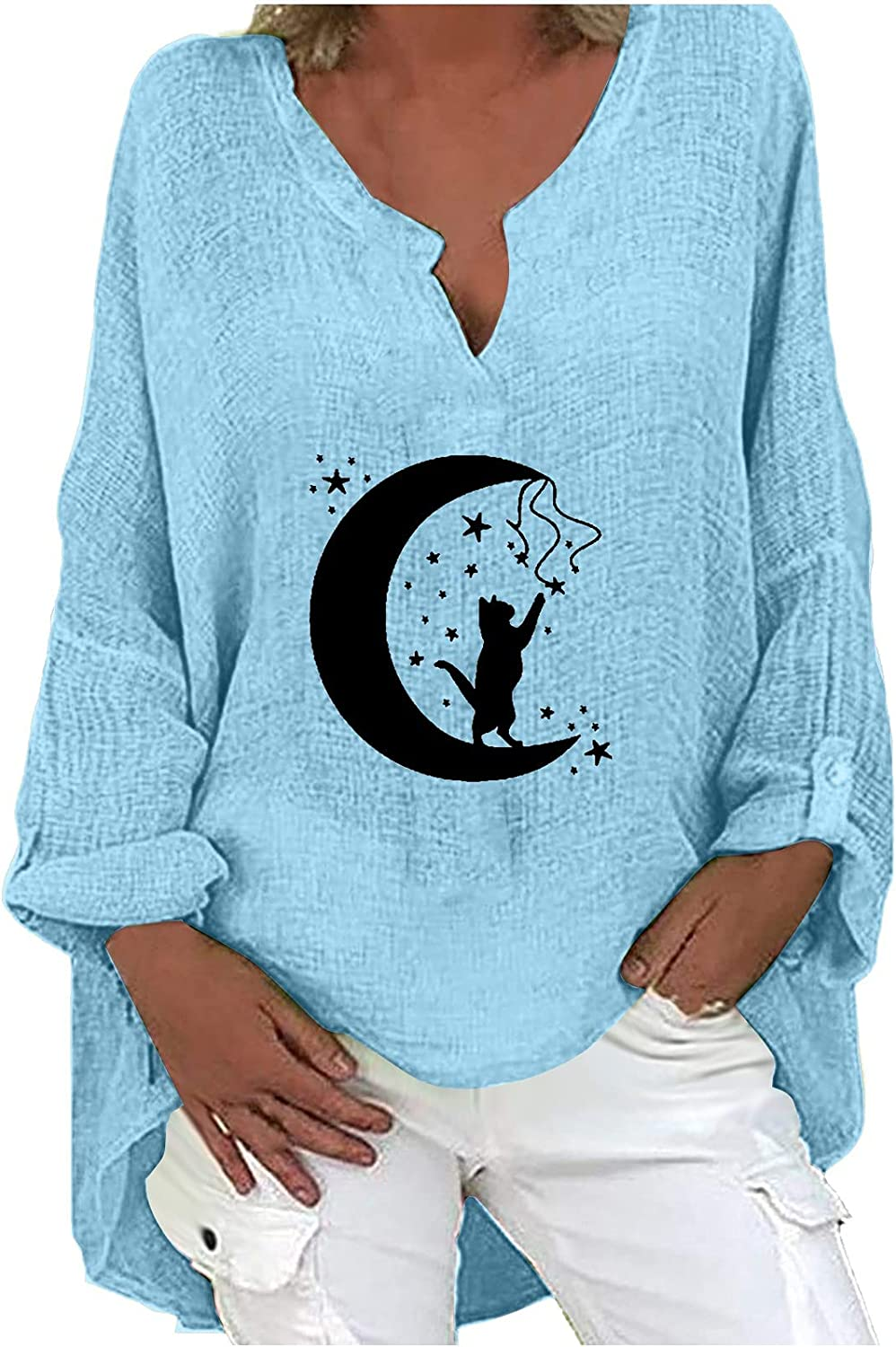 Autumn Tops for Women Fashion V-Neck T-Shirts Casual Moon Printing Blouses Loose Long Sleeve Tees Plus Size