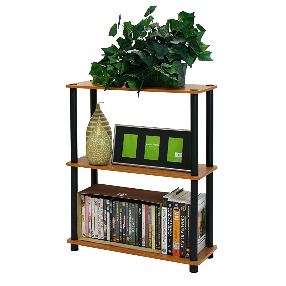 Swag Pads Light Cherry and Black Finish 3-Tier Bookcase
