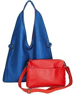Women Shoulder Hobo Bag Reversible Oversized Crossbody Bag Soft PU Lather 2 PCS Set
