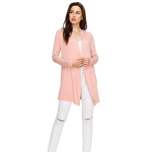 c8da1406e7e EttelLut Long Lightweight Wrap Cardigans Sweaters-Open Front Regular Plus  Size