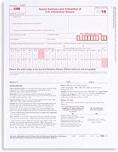 1096 Transmittal 2019 Tax Forms, 25 Pack of 1096 Summary Laser Forms Designed for QuickBooks and Accounting Software