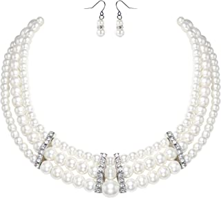 BABEYOND 1920s Gatsby Pearl Necklace Vintage Bridal Pearl Necklace Earrings Jewelry Set Multilayer Imitation Pearl Necklac...
