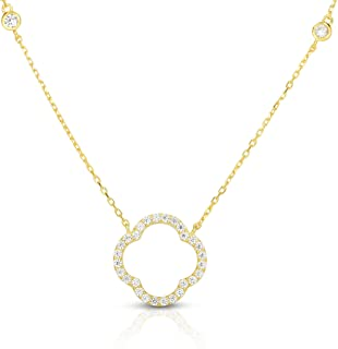 Solid 925 Sterling Silver Cubic Zirconia Open Four Leaf Clover Pendant and Adjustable Length Necklace 16