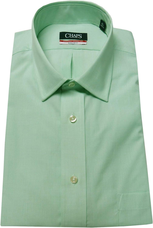 Chaps Men's Houndstooth Check Regular Fit Shirt, Size 15-15 1/2-32-33, Kiwi/Green
