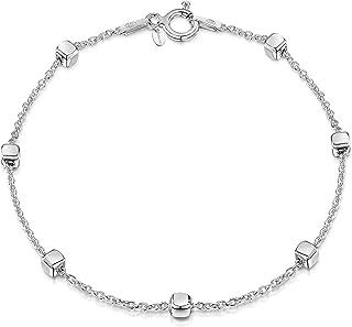 Amberta Gioielli - Bracciale - Catenina Argento Sterling 925 - Lunghezza: 19 cm