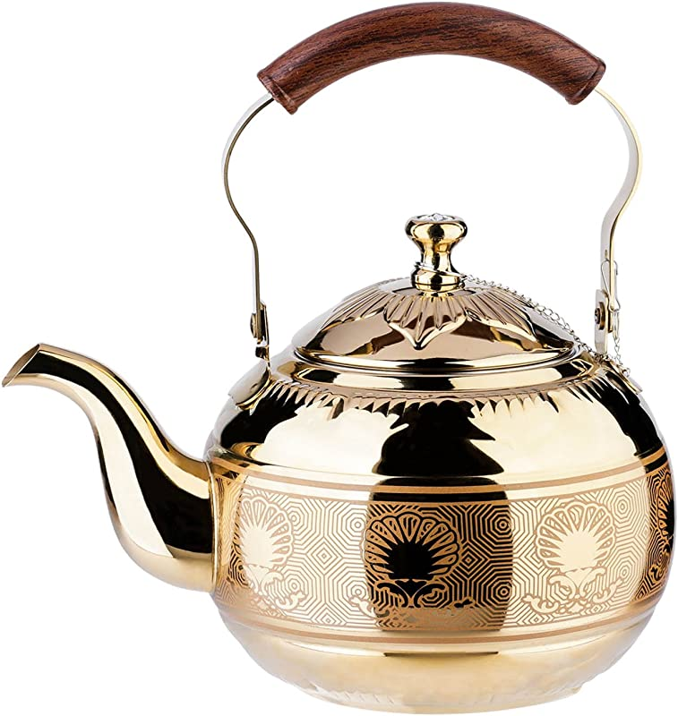 1 5 Liter Tea Pot Gold Pot With Infuser For Loose Leaf Tea Stainless Steel Coffee Kettle 6 Cup Induction Stovetop Copper Teapot Strainer Office Hot Water Mirror Finish 1 6 Quart 51 Ounce By Onlycooker