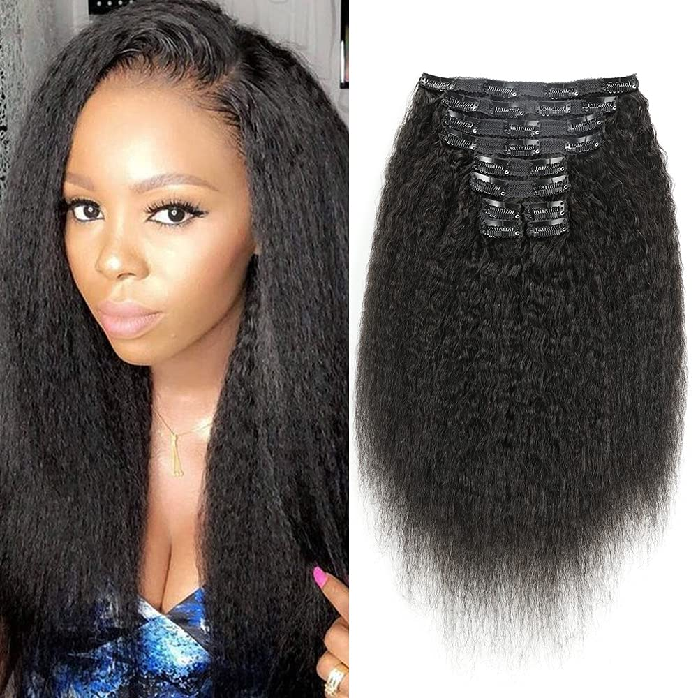 Kinky Straight Clip in human Hair At the price of surprise Black Ranking TOP11 3c Women Extensions for