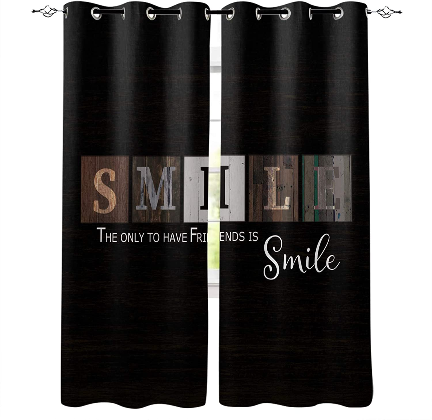 Blackout Curtains for Bedroom Rustic Phoenix Mall Beauty products Wooden Room Smile Darkenin