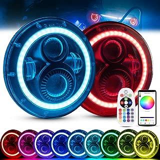 MICTUNING 7 Inch 80W Round RGB LED Headlight Halo Angel Eye with DRL High Low Beam Remote Bluetooth Control for Jeep Wrangler JK CJ TJ