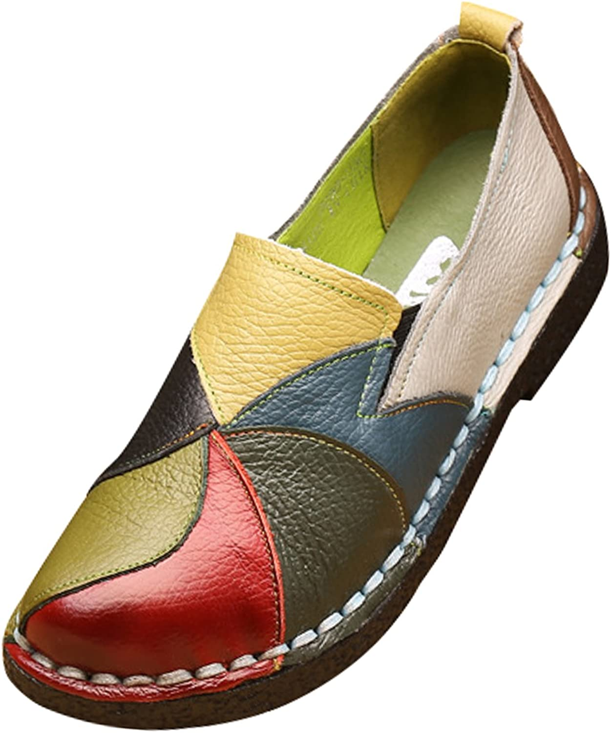 Zoulee Women's Leather Spell color Low-Heeled shoes Pregnant shoes Driving shoes