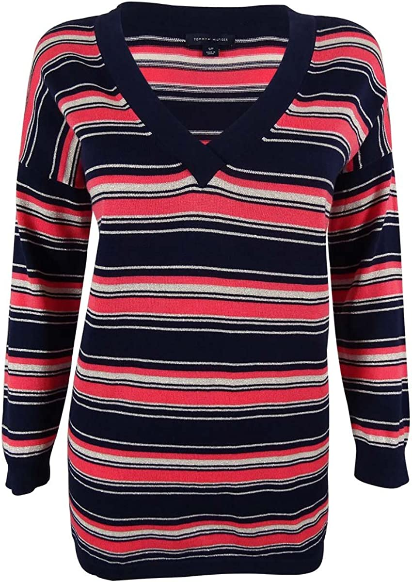 Tommy Hilfiger Womens Metallic Striped Pullover Sweater Navy S