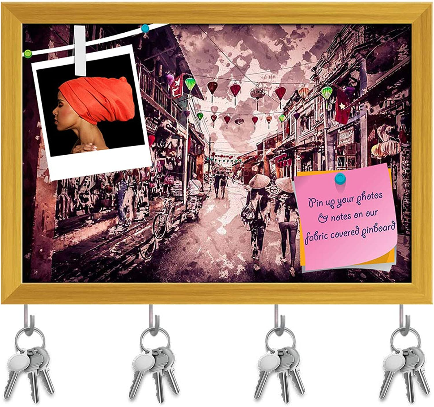 Artzfolio Tourists in Traditional Style in Hoi Ah, Vietnam Key Holder Hooks   Notice Pin Board   golden Frame 17.5 X 12Inch
