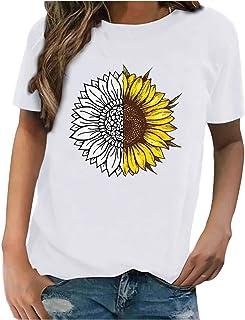 Damen Sonnenblumen-Print Tshirt Kurzarm Rundhals Casual Elegant Sommer Sexy Oberteile Für Frauen Teenager Mädchen Mode Hemdbluse